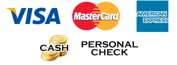 We gladly accept Visa, Mastercard, Discover, American Express, Check and Cash!